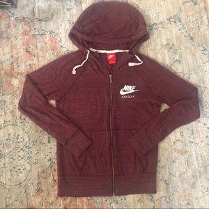 Nike hoodie zip up burgundy heather size xs
